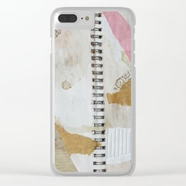 mixed media collage notebook wallpaper Clear iPhone Case