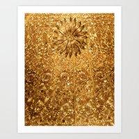 gold glitter Art Prints featuring Glitter Gold by Saundra Myles