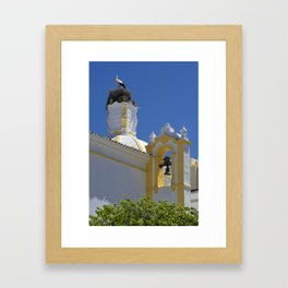 Stork and bell tower Framed Art Print