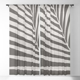 Zebra Palm / Black and White Palm Frond Sheer Curtain