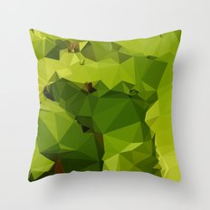 Avocado Green Abstract Low Polygon Background Throw Pillow