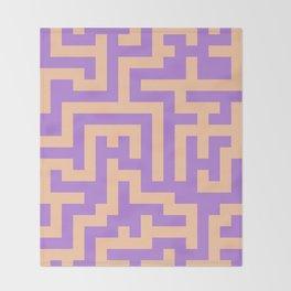 Deep Peach Orange and Lavender Violet Labyrinth Throw Blanket