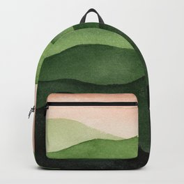 Watercolor layers of mountains Backpack