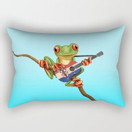 Tree Frog Playing Acoustic Guitar with Flag of Croatia Rectangular Pillow