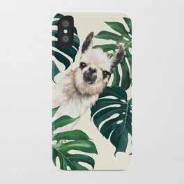 Sneaky Llama with Monstera iPhone Case