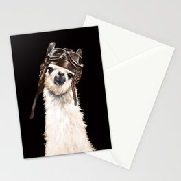 Cool Pilot Llama in Black Stationery Cards