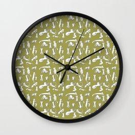 Kitten Love - Olive Green Wall Clock