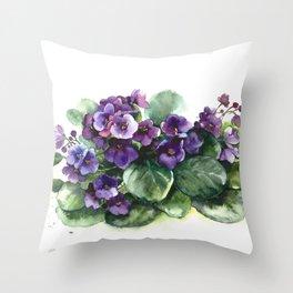 Senpolia viola violet flowers watercolor Throw Pillow