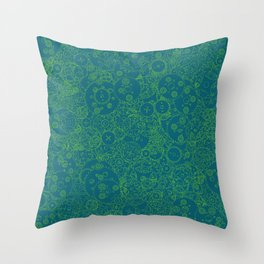 Clockwork Turquoise & Lime / Cogs and clockwork parts lineart pattern Throw Pillow