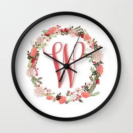 Personal monogram letter 'W' flower wreath Wall Clock