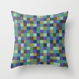Blu Grid Throw Pillow