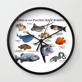 Fish of the Pacific Kelp Forest Wall Clock