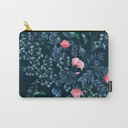 Floral - Blue & Pink Carry-All Pouch