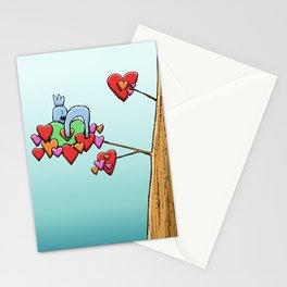 Cute Koala Sleeping on Heart Leaves Stationery Cards