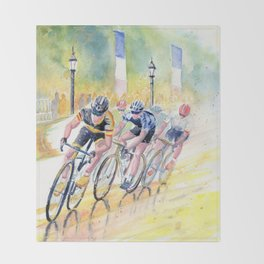 Colorful Bike Race Art Throw Blanket