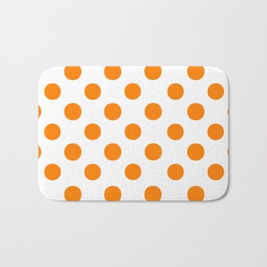 Polka Dots (Orange/White) Bath Mat