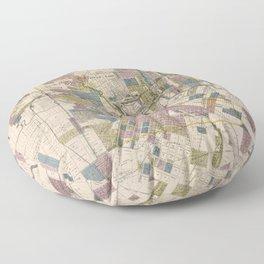 Vintage Map of Houston Texas (1895) Floor Pillow