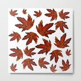 Autumn pattern leaves orange-yellow, season, autumn, nature, forest Metal Print