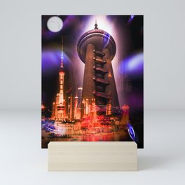 Full moon - Moments Shanghai Oriental Pearl Tower Mini Art Print