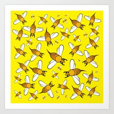 Bees pattern in yellow Art Print