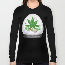 Merry Christmas Marijuana Snow Globe Long Sleeve T-shirt
