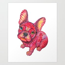 Raspberry frenchie Art Print