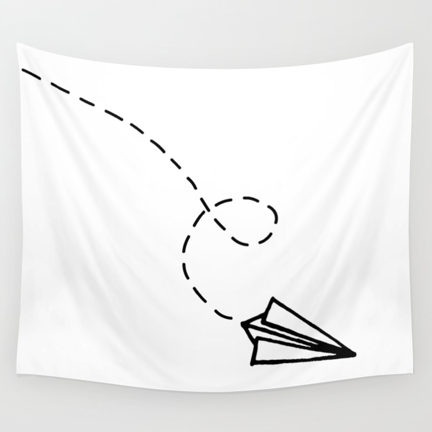 Send It Simple Paper Airplane Drawing Wall Tapestry By