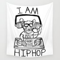 hiphop Wall Tapestries featuring I AM HIPHOP  by Geryes