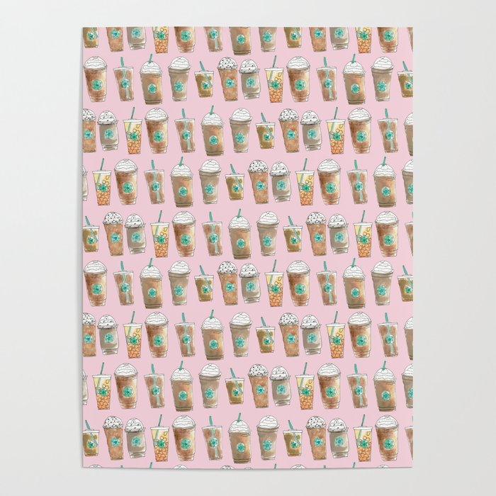 Coffee Cup Line Up in Pink Berry Poster