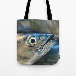 Big eye, tuna, fish, still life, photo, fine art, print, nature, sea, fishing, detail, blue Tote Bag