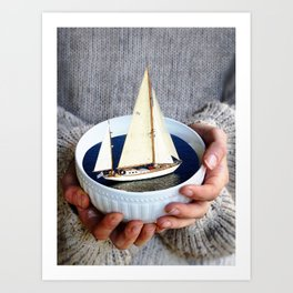 Ship in the bowl Art Print
