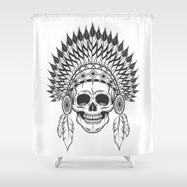 Skull in indian headwear with feather in monochrome style. Art print Shower Curtain