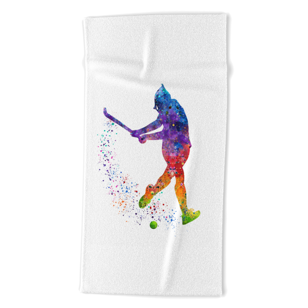 Girl Field Hockey 3 Colorful Watercolor Art Field Hockey Gift Girl's Room Decor Beach Towel by svetlaart