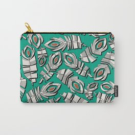 deco feathers emerald sienna Carry-All Pouch