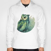 potter Hoodies featuring Green Owl by Teagan White