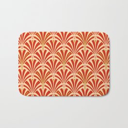 Art Deco Fan Pattern, Mandarin Orange Bath Mat