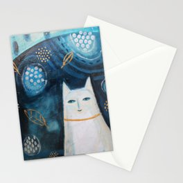 abstract white cat painting with leaves Stationery Cards