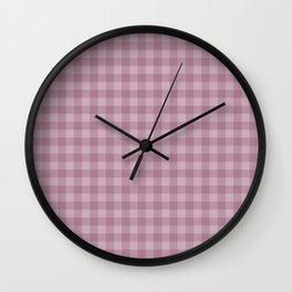 Pink gray simple plaid patterns . Wall Clock