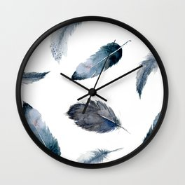 Midnight Feather Wall Clock