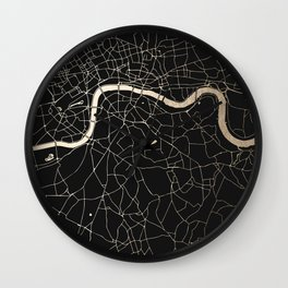 London Black on Gold Street Map II Wall Clock