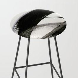 Brushstroke 9: a bold, minimal, black and white abstract piece Bar Stool
