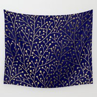 navy Wall Tapestries featuring Gold Berry Branches on Navy by Cat Coquillette