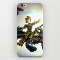 hiccup iPhone & iPod Skins featuring Hiccup & Toothless Flight by Chris Thompson, ThompsonArts.com