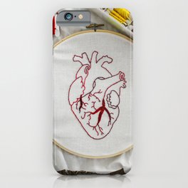 Heart design of handmade embroidery iPhone Case
