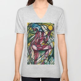 Stained glass figure Unisex V-Neck