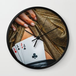 Sexy lady in golden color dress with poker cards combination over black stocking legs Wall Clock