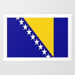 Flag of Bosnia – Bosnian,Bosniak,herzegovinian,bosna,Sarajevo,Balkan,yugoslavia. Art Print