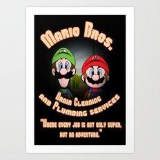 Super Mario Bros. Drain Cleaning & Plumbing Service Art Print
