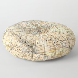 North America Vintage Map Floor Pillow