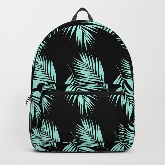 Palm Leaves Pattern #2 #Mint #Black #decor #art #society6 Backpack